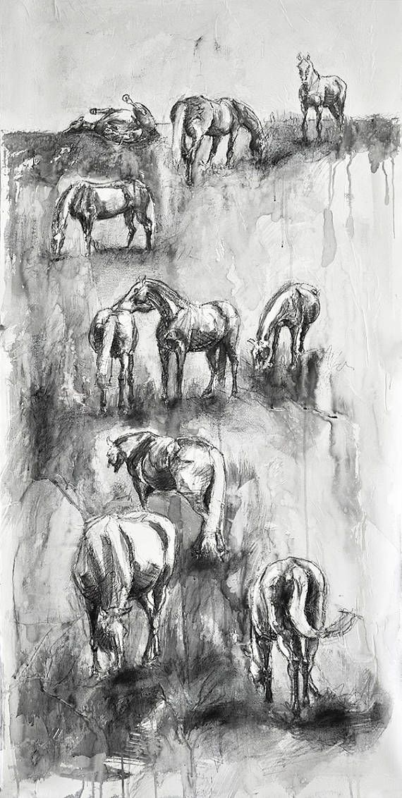 Original Watercolor and Black Chalk Painting of a Horses Herd