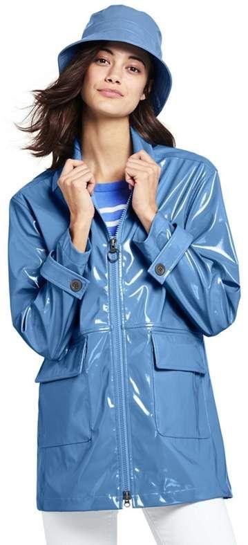 150e5670d0952 Lands' End - Blue High Shine Rain Coat | Rainy Day | Rain slicker ...