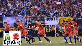 Argentina 0-0 Chile (PEN: 2-4)  [ Copa America 2016 Final ]  28′ [ Two yellow/red ] Marcelo Diaz got his marching orders in 28th minute after picking up his second yellow card in the game.  43′ [ Straight Red ] Marcos Rojo lunged in dangerously on Vidal and referee pulled up a straight red taking the game back to equal terms.
