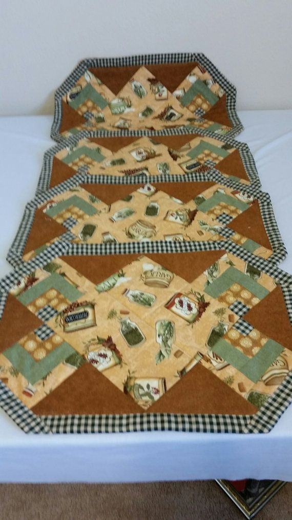 Quilted Tan & Brown Placemat Set of 4  Machine Washable