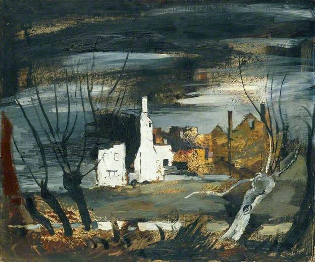 """A Ruined House, Hampton Gay, Oxfordshire"" by John Piper, 1941 (Oil & Indian ink on canvas on board)"