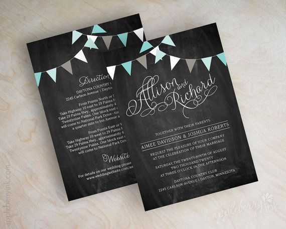 Aqua, turquoise, teal, light tiffany blue, country chic chalkboard wedding invitations, blackboard wedding invitations, country chic invitation, Shelley by www.appleberryink.com