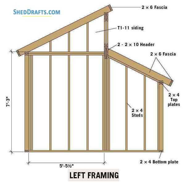 Once The Outside Studs Are In Place The Top Plate Must Be Measured And Installed At An Angle Shed Plans Wood Shed Plans Diy Shed