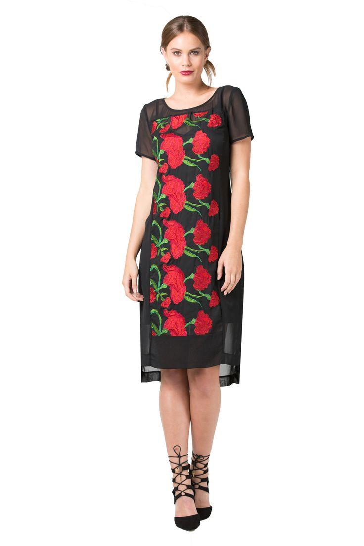 Designer Fashion | Red and Black Floral Dresses | Annah Stretton