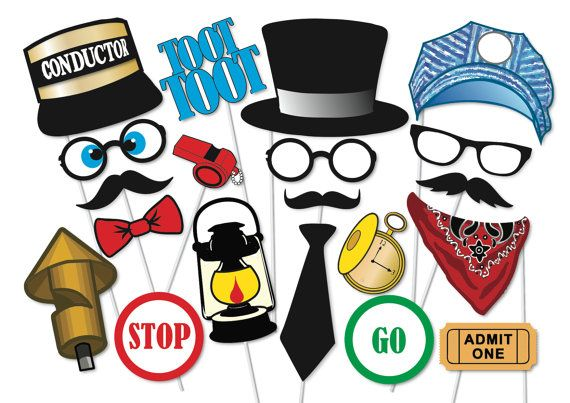 Train Photo booth Props Party Props Set Printable - 20 Piece - Train enthusiast, Thomas the Tank Engine Party