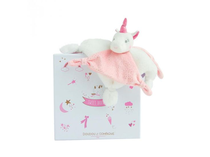 Doudou et compagnie - Doudou licorne rose 22 cm (boîte cadeau) #doudou #doudouetcompagnie  #licorne #rose #cadeaunaissance #cadeau #naissance #bébé