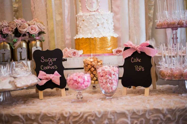 Pink & Gold Christening Baptism Party Ideas | Photo 6 of 80