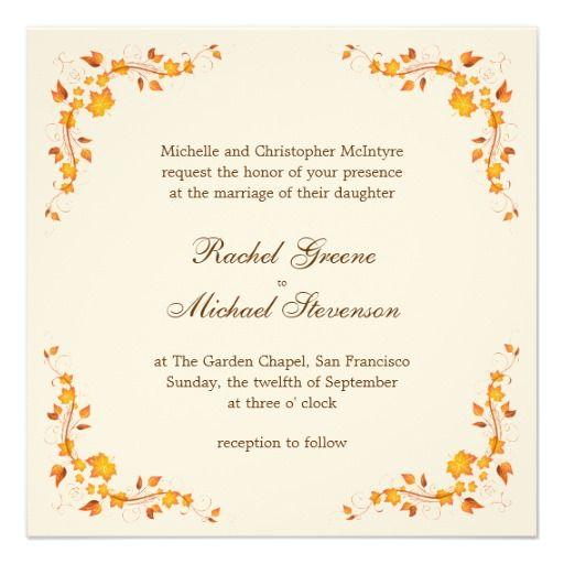 Autumn Wedding Invitations Cheap