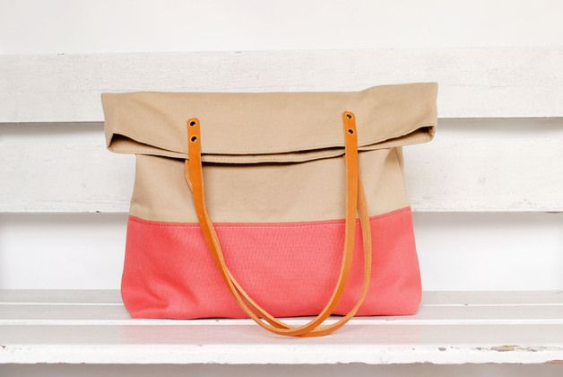 Shopper, Canvas Tasche in Beige und Neonpink / canvas shopper bag in neonpink made by june-shop via DaWanda.com
