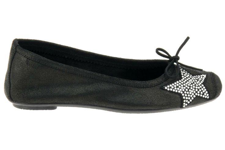 Ballerines Reqins pour femme. Ballerines noires en cuir avec étoile de strass. Modèle de la nouvelle collection Reqins 2014.  Prix : 79 €