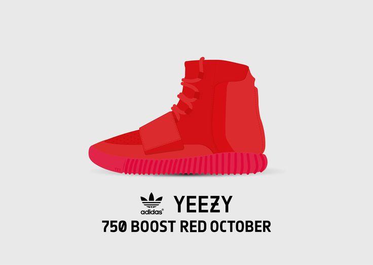 Yeezy 750 Boost  RED OCTOBER, Yeezy 2 Concept, illustration Kanye West x adidas Originals