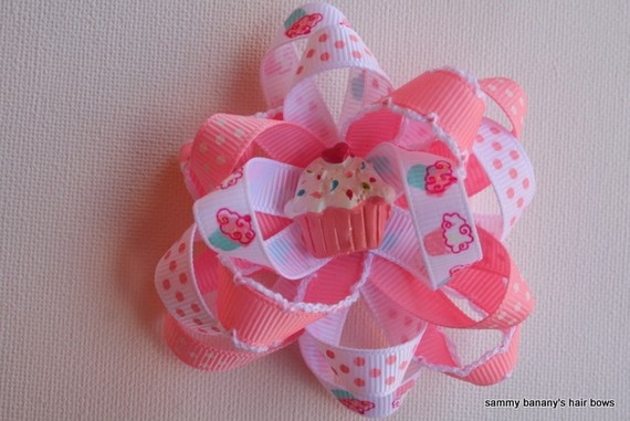 Cupcake Loopy Flower Hair Bow Clip by Sammy Banany's by iguania03, $5.99