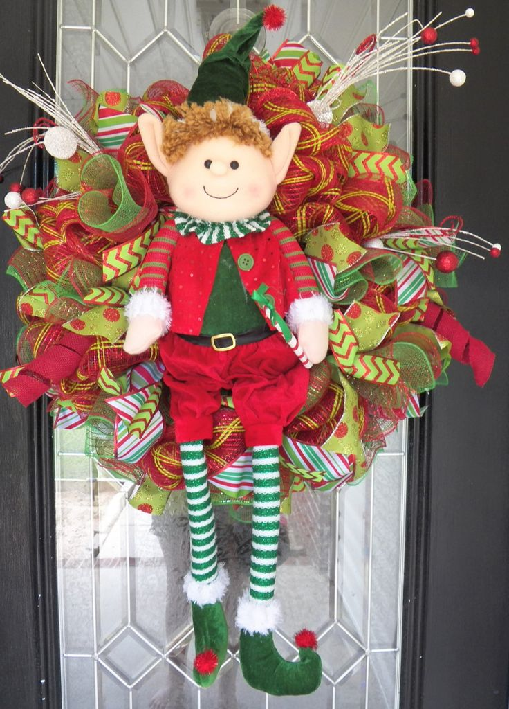 "27"" Christmas Wreath, Elf Wreath, Christmas Door Hanger, Holiday Decor, Wreath for Door, Front door Wreaths, Deco Mesh, Ready to Ship by OccasionsBoutique on Etsy"
