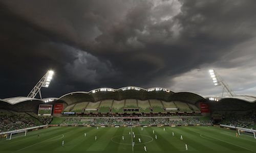 Storm clouds over AAMI Park may have kept some people away, but this is a sad and sorry picture for Melbourne City who lost 1-3 to Perth Glory. (Photo via Perth Glory FC). 25.11.17