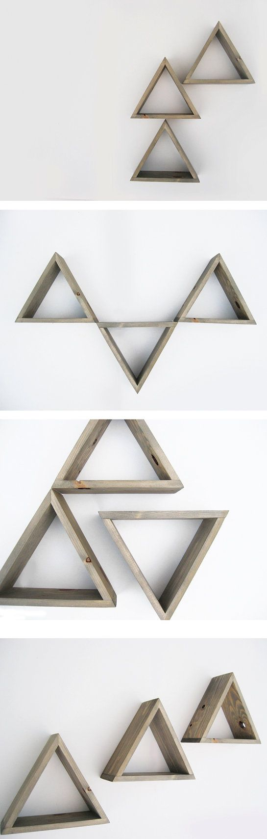 Triangle Shelf Set of 3 - Shadow box shelves - Barnwood Grey Wash - Ready to ship