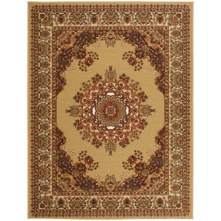 Sweethome Stores Clifton Collection Red Traditional Medallion Design Living and Bedroom Area Rugs, Beige