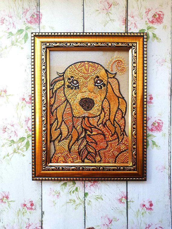 English Cocker Spaniel art dog painting custom gold dog