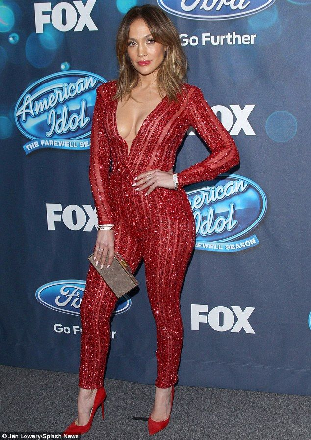 Not bashful:Of course, a massively plunging neckline that showed off the Booty singer's impressive cleavage added yet more sex appeal to the shimmering outfit
