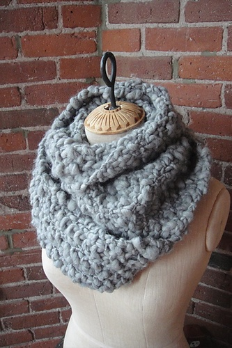 Cowl Scarf knit with super bulky yarn in seed stitch.