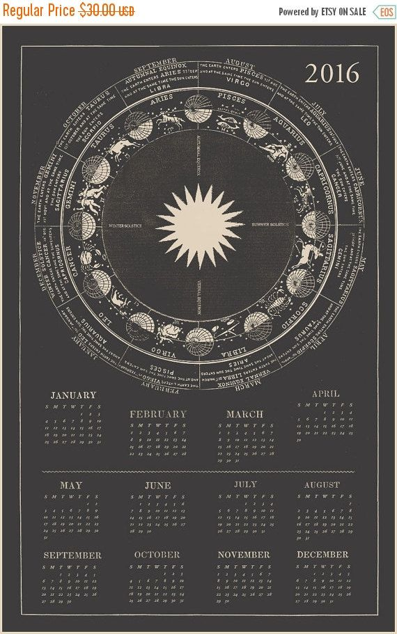 2016 Calendar Zodiac Calendar Astrology Calendar by CapricornPress