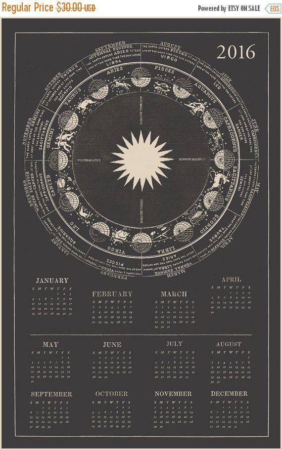 2016 Calendar Zodiac Calendar Astrology Calendar por CapricornPress