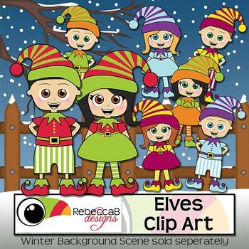 Elves Clip Art is a fun and colorful set and will brighten your Christmas products. There are 5 matching sets of boy and girl elves, each with a different color combination.  Black and white versions are also included.  Elves Clip Art by RebeccaB Designs.You will find my Winter background scenes using the following link:{Background Scenes Winter}My graphic designs are produced at 300dpi and in .JPEG or .PNG(transparent background) format unless otherwise stated.