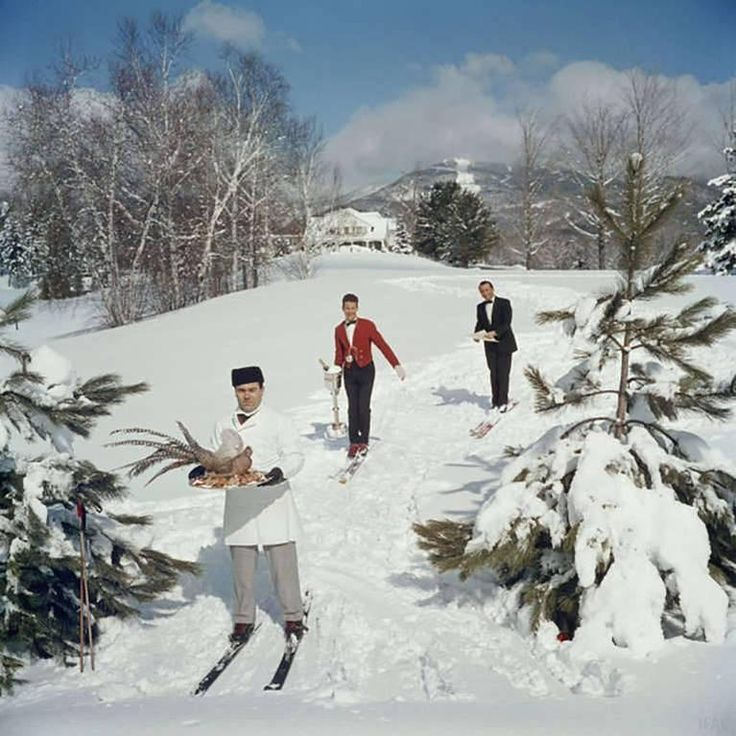 Skiing Waiters (Slim Aarons Estate Edition) | From a unique collection of color photography at https://www.1stdibs.com/art/photography/color-photography/