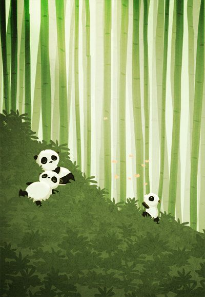 "Panda Wall Art, Panda Art, Kids Art, Nursery Wall Decor - ""Pandas"" - Art Print 13x19. $35.00, via Etsy."