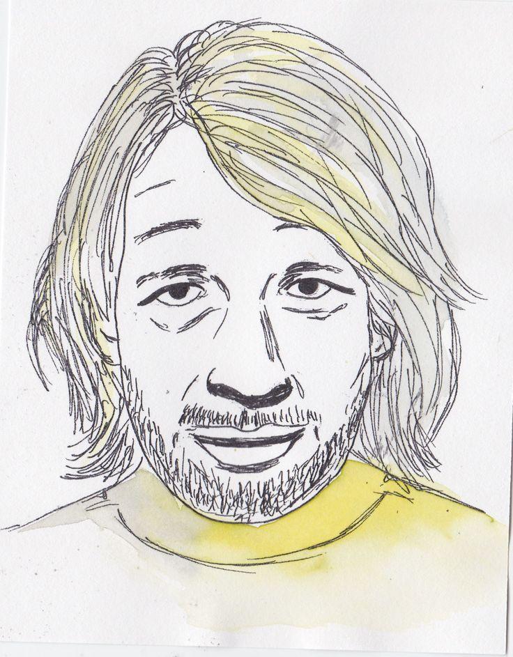 Peter Saville line drawing + watercolour
