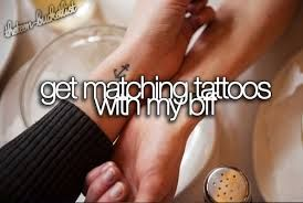 We have talked about this:) just need to decide on a tattoo!! Also special because it will be our first tattoo each<3