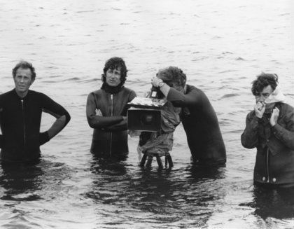 Spielberg and crew filming Jaws