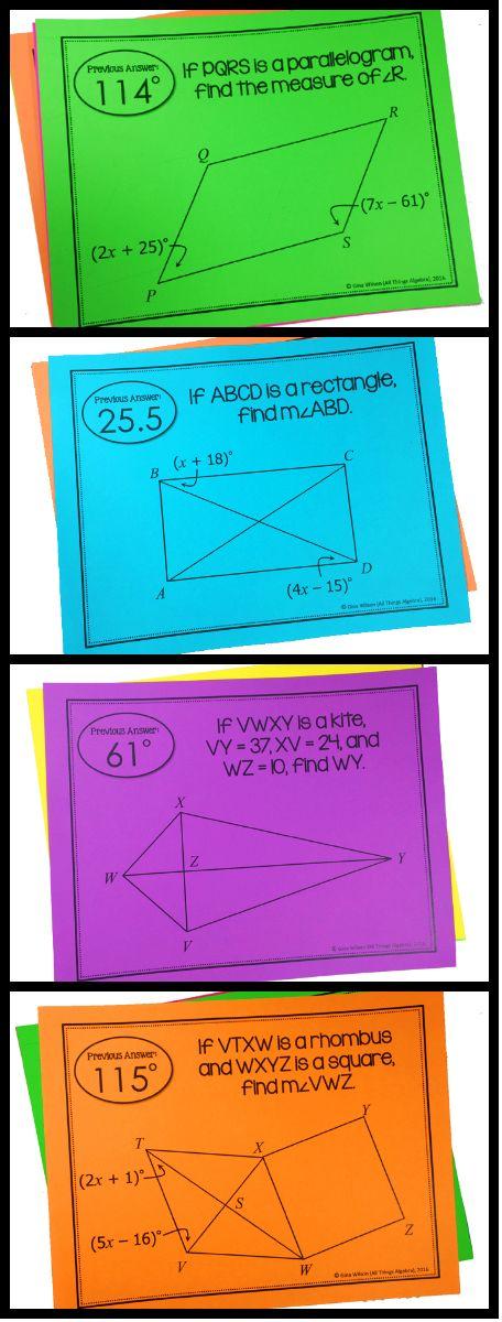 Quadrilaterals Scavenger Hunt (parallelograms, rectangles, rhombi, squares, trapezoids, isosceles trapezoids, and kites)