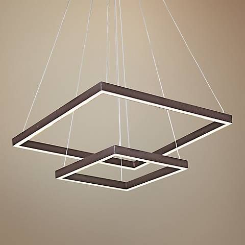 "ET2 Quad 19 3/4"" Wide Cubist Bronze 2-Tier LED Pendant"