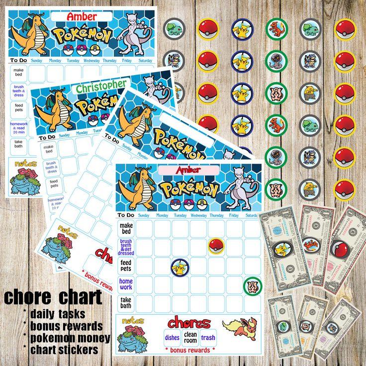 Kids Chore Chart,Pokemon Go Printable,Kids Reward Chart,Responsibility Chart,Positive Behavior Chart,Star Chart,Kids Planner,Weekly Chart by DigitalArtMovement on Etsy