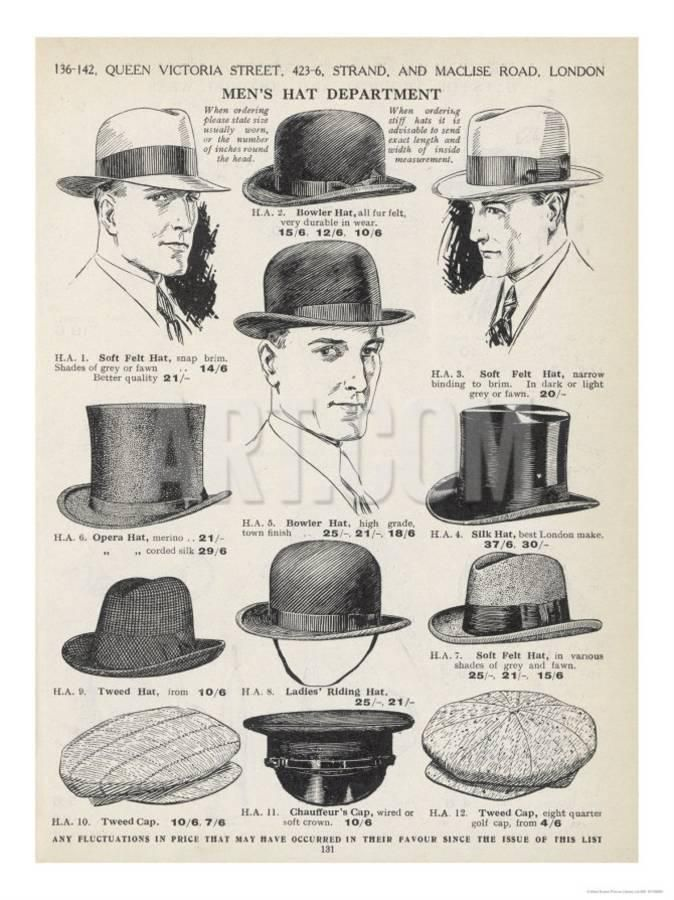 d539b774b25 A Variety of Men s Hats Giclee Print in 2019