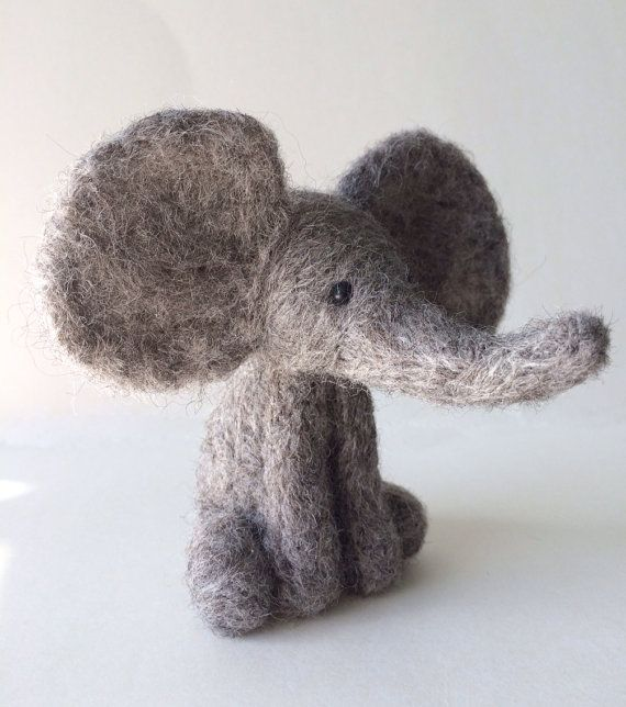 Grey elephant needle felt kit starter kit by FeltHoppy on Etsy