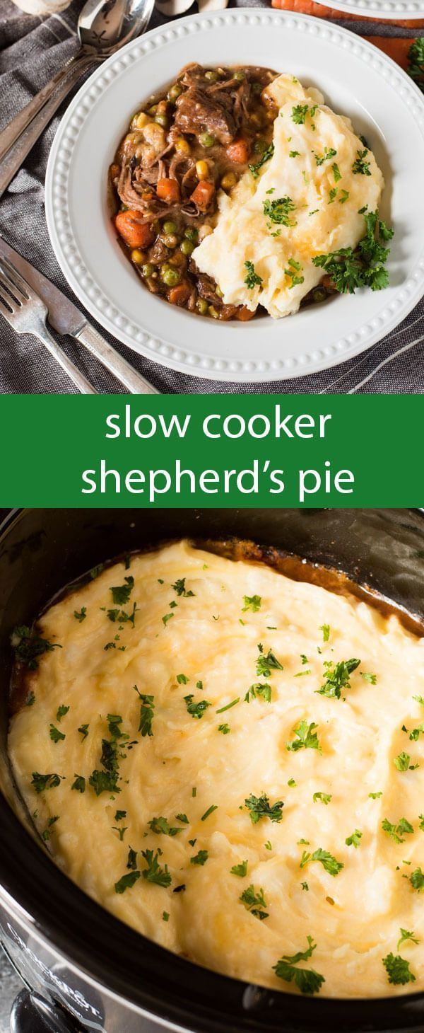Slow Cooker Shepherd's Pie is an easy way to enjoy a classic casserole. Fork-tender roast beef simmered with veggies & topped with cheesy mashed potatoes. via /tastesoflizzyt/