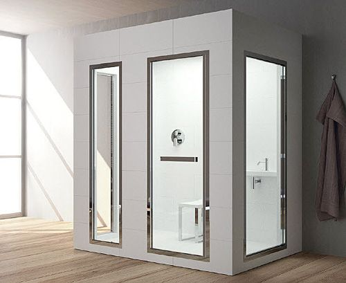 This Teuco steam room would actually work as an interesting shower enclosure. or a see through bathroom.
