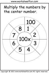 Multiply by 100 worksheet