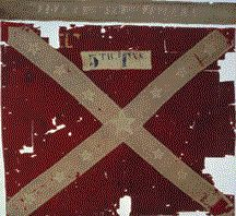 """Fifth Texas Infantry/Hood's Texas Brigade/Army of North Virginia Battle Flag Variant/Mrs. Young Flag from the Civil War, 1862. Houston educator and philanthropist Maude Young gave this flag to the regiment. It was present at the famous """"General Lee to the rear"""" episode during the Battle of the Wilderness."""