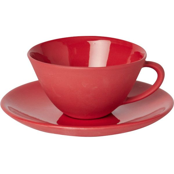 Mud Australia Teacup with Saucer ($82) ❤ liked on Polyvore featuring home, kitchen & dining, drinkware, outdoor drinkware, handmade mugs, coloured mugs, glazed mugs and handcrafted mugs