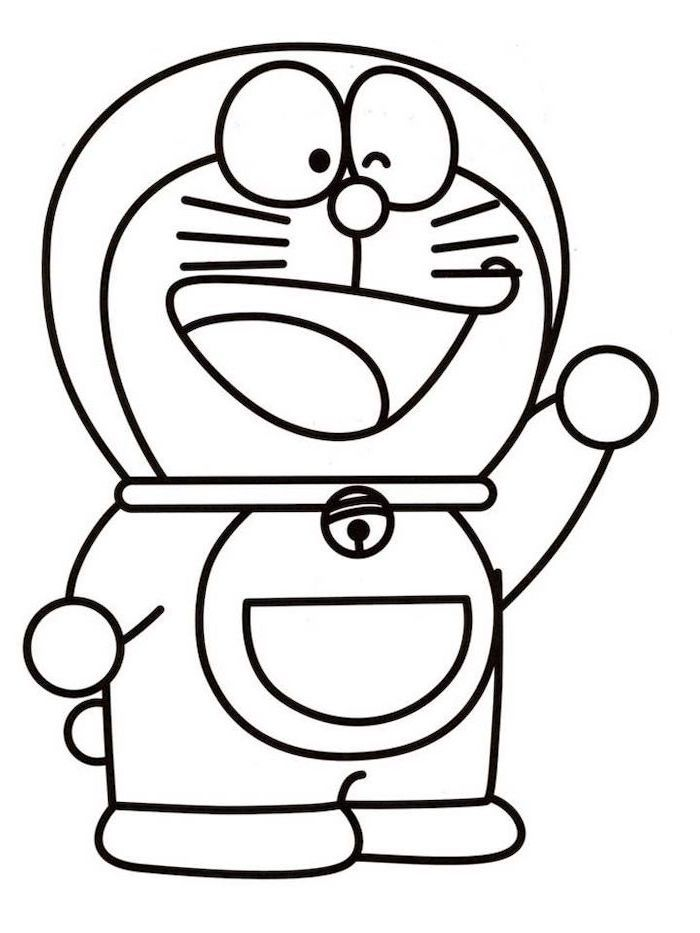 Cartoon Person Waving Black And White Pencil Sketch Easy Drawings Step By Step For Coloring Easy Drawings For Kids Easy Drawings Minnie Mouse Drawing