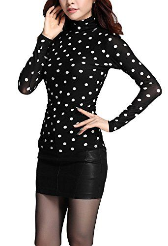"""Qunson Womens Warm Casual Polka Dot Long Sleeve Turtleneck Blouse Top Shirt. 95% polyester/5% Spandex. Size: S,M,L,XL; Plesze check the size information in the product description. It is Asian size, runs small to US size. Thick inside, fashion style, pullover, suitable for all seasons. We have registered Trademark """"Qunson"""" worldwide and Amazon Brand Register. Package includ:1 pcs of womens top."""