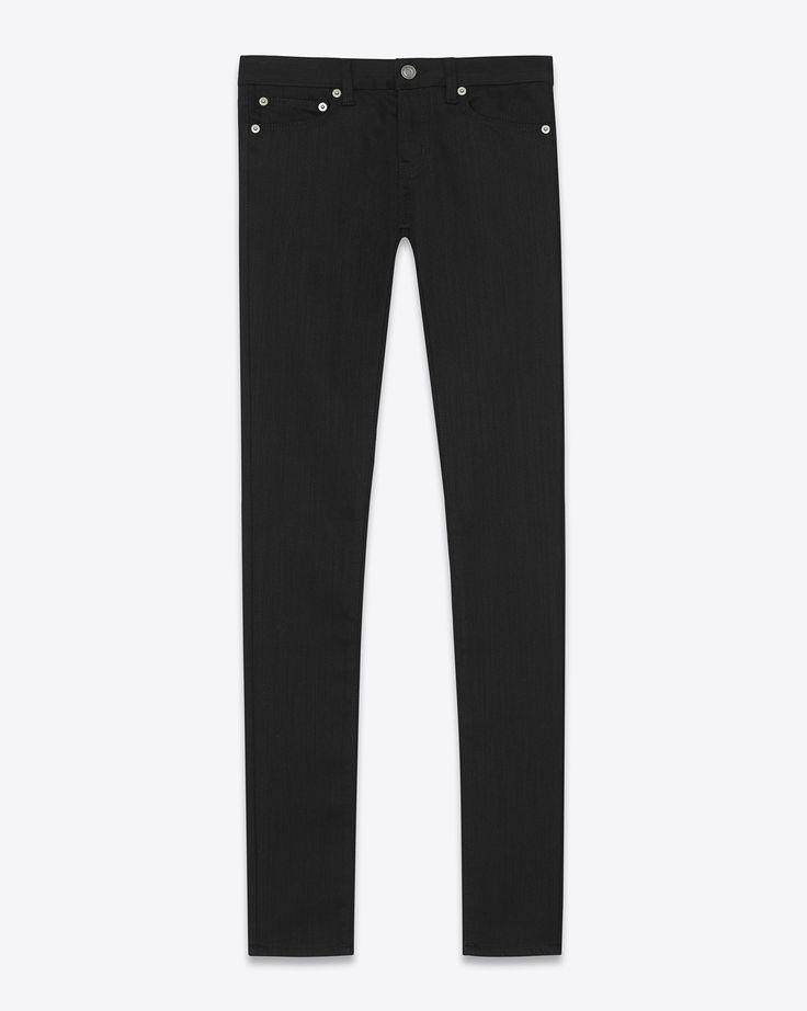 Saint Laurent Jean Skinny à Taille Basse En Toile Denim Stretch Rincée Noire | YSL.com