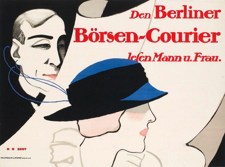 "Hans Rudi Erdt (1883-1918, German), 1913,  Read the Berlin stock exchange courier (""Den Berliner Börsen-Courier lesen Mann und Frau""), Print by Hollerbaum & Schmidt, Berlin."