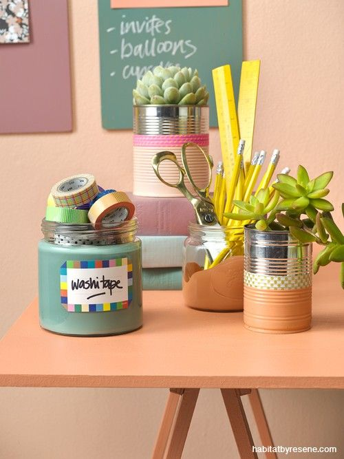 Workspace need a makeover? New Zealand stylist LeeAnn Yare showed us how with these gorgeous painted pots and clipboards... using Resene test pots and Japanese washi tape.