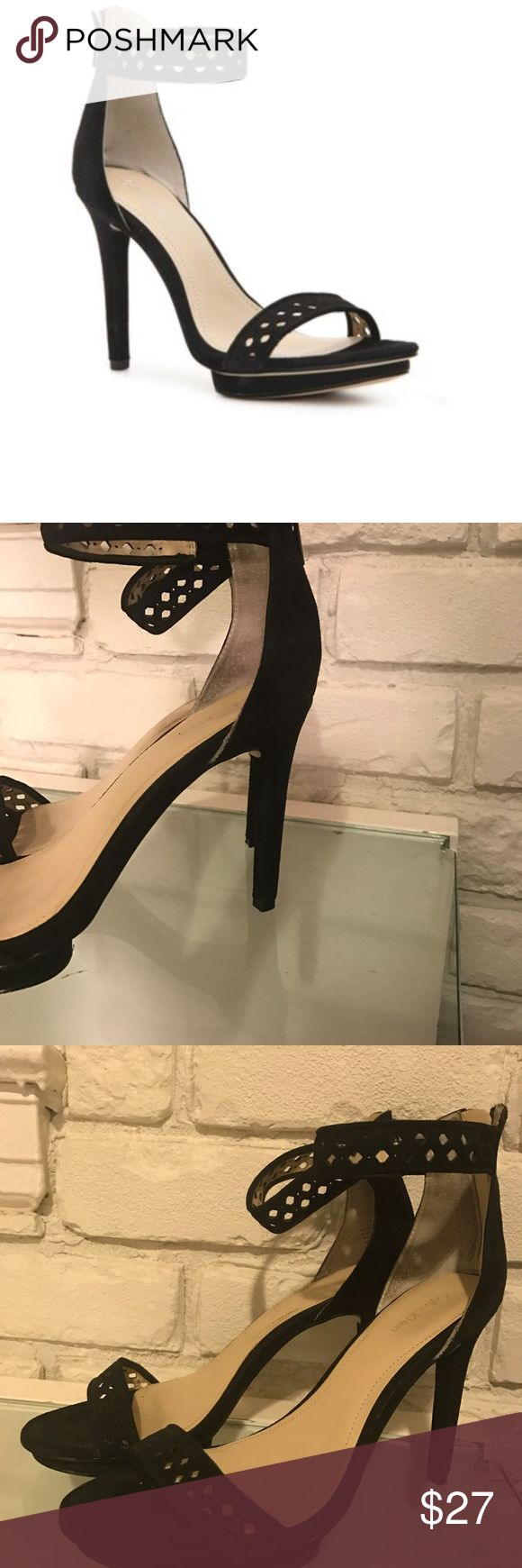 Calvin Klein: Verena Ankle Strap Sandal SIZE 8 Calvin Klein Verena ankle strap sandal. two- piece silhouette made of soft suede is sure to make you look effortlessly chic. WORN 1-2 times--slight wear in sole, other wise great condition. Calvin Klein Shoes Sandals