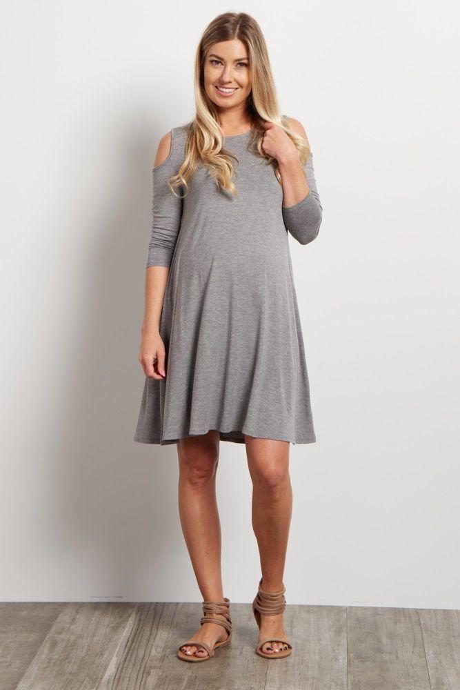 Grey Cold Shoulder Maternity Dress