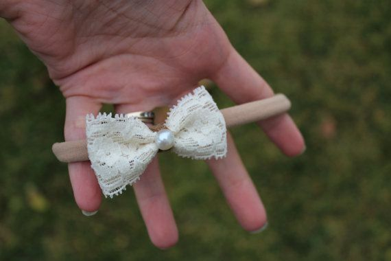 Lace Hair Bow Cream Hair Bow Ivory Hair Bow by WillowGraceShop