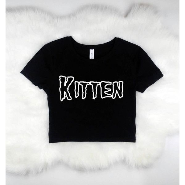 KITTEN crop top t-shirt women's grung clothing rock goth shirt ($17) ❤ liked on Polyvore featuring tops, shirt crop top, goth crop top, grunge shirts, patterned shirts and rock shirts